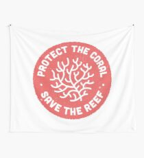 Protect the Coral, Save the Reef. Red Icon.  Wall Tapestry