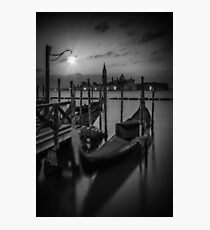 VENICE Gondolas during Blue Hour in black and white Photographic Print