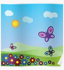 Flowers and butterflies Poster