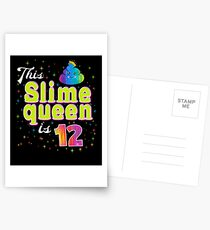 This Slime Queen Is 12 Birthday Cute Girls 12th Bday Gift Postcards