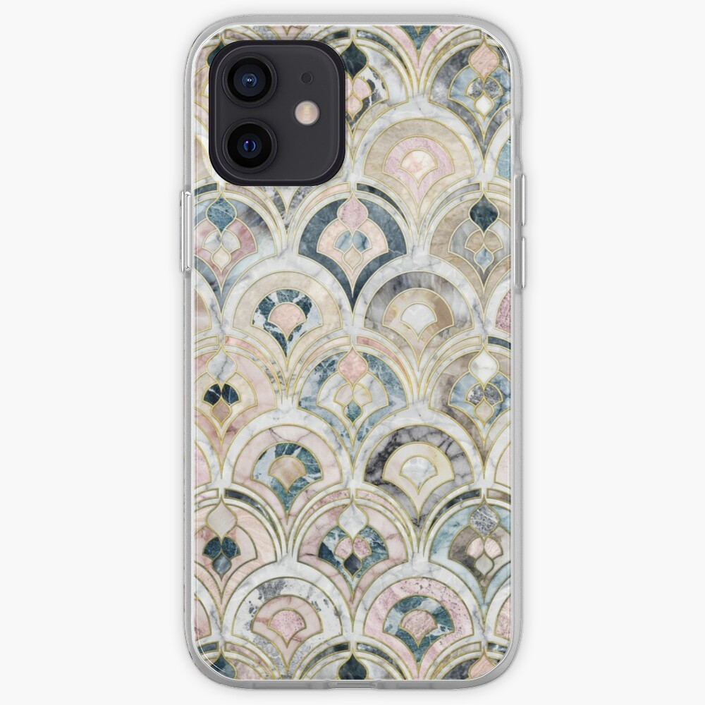 Art Deco Marble Tiles in Soft Pastels iPhone Case & Cover