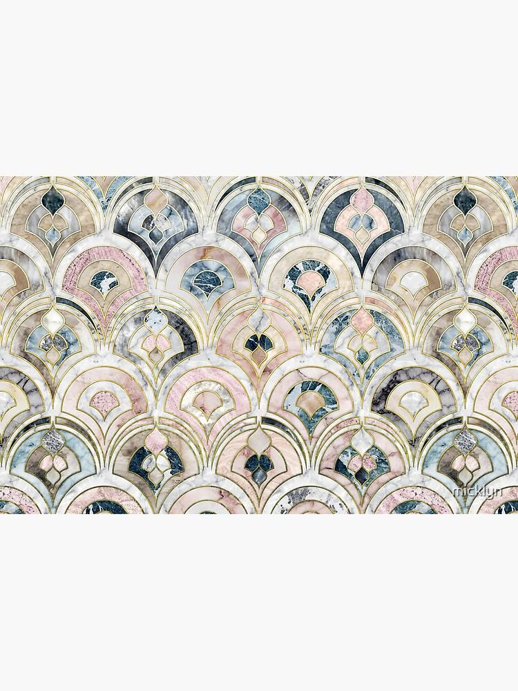 Art Deco Marmorfliesen in weichen Pastellfarben von micklyn