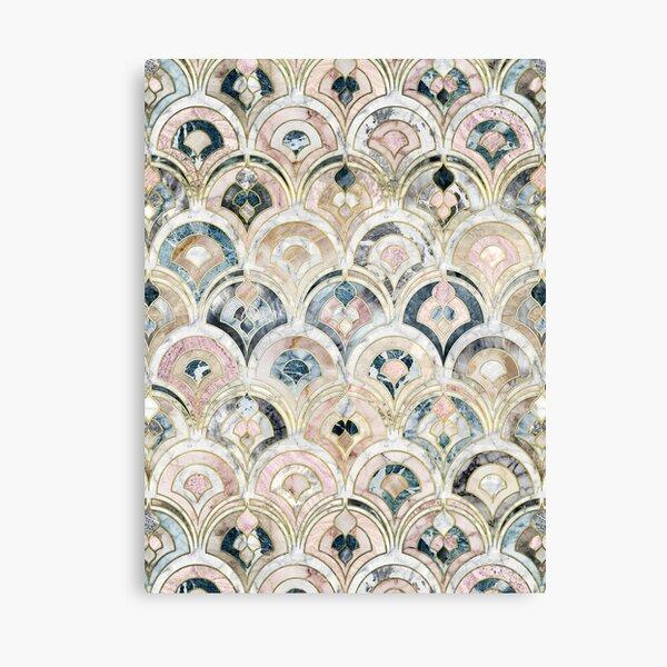 Art Deco Marble Tiles in Soft Pastels Canvas Print