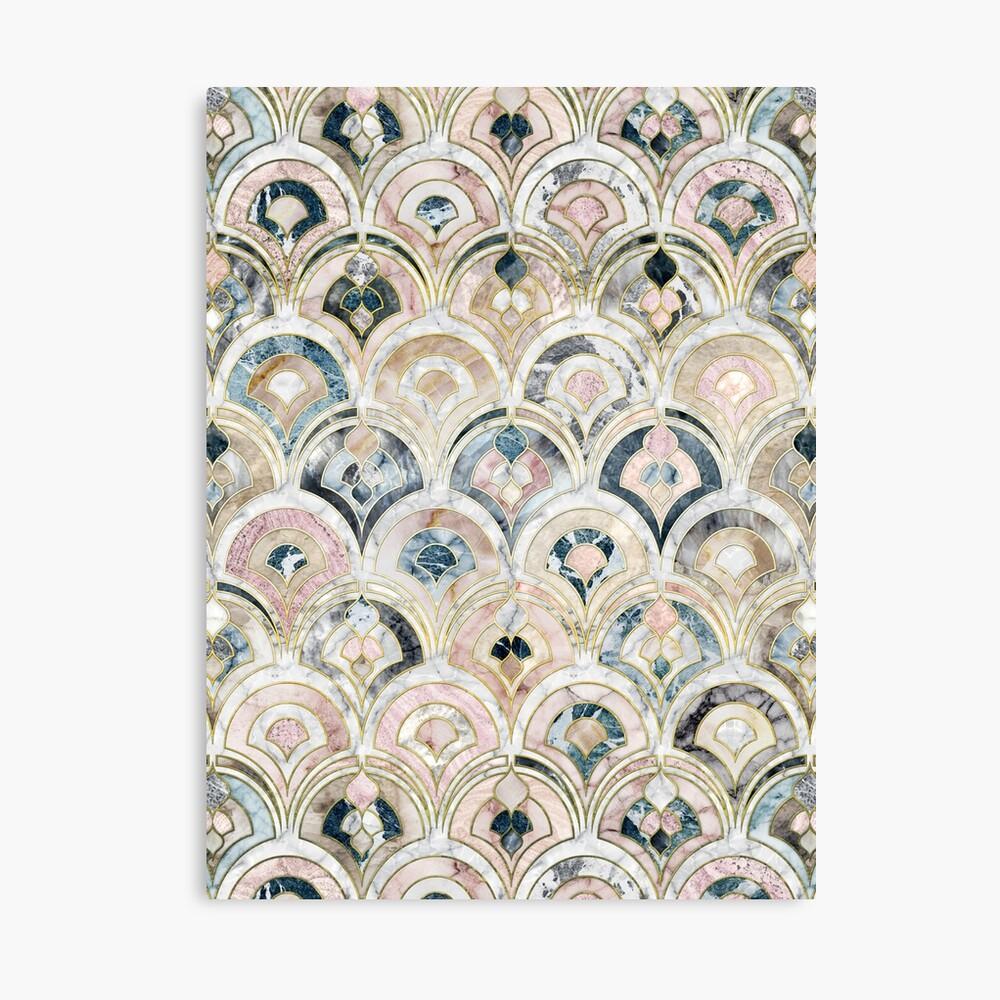 Art Deco Marmorfliesen in weichen Pastellfarben Leinwanddruck