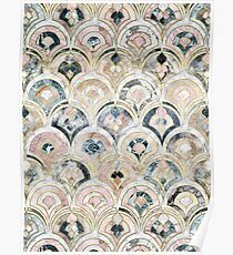 Art Deco Marmorfliesen in weichen Pastellfarben Poster