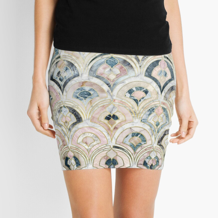 Art Deco Marble Tiles in Soft Pastels Mini Skirt