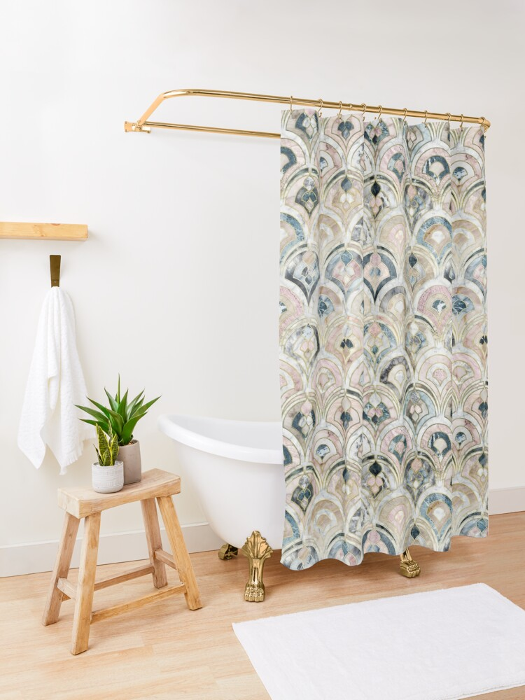 Alternate view of Art Deco Marble Tiles in Soft Pastels Shower Curtain