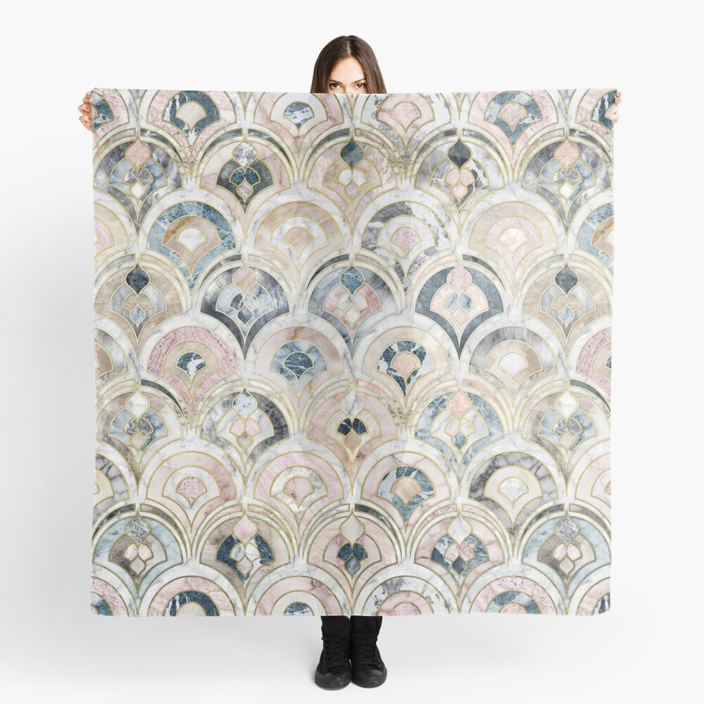Art Deco Marble Tiles in Soft Pastels Scarf