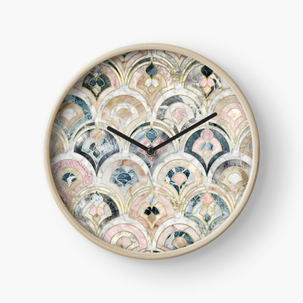 Art Deco Marble Tiles in Soft Pastels Clock