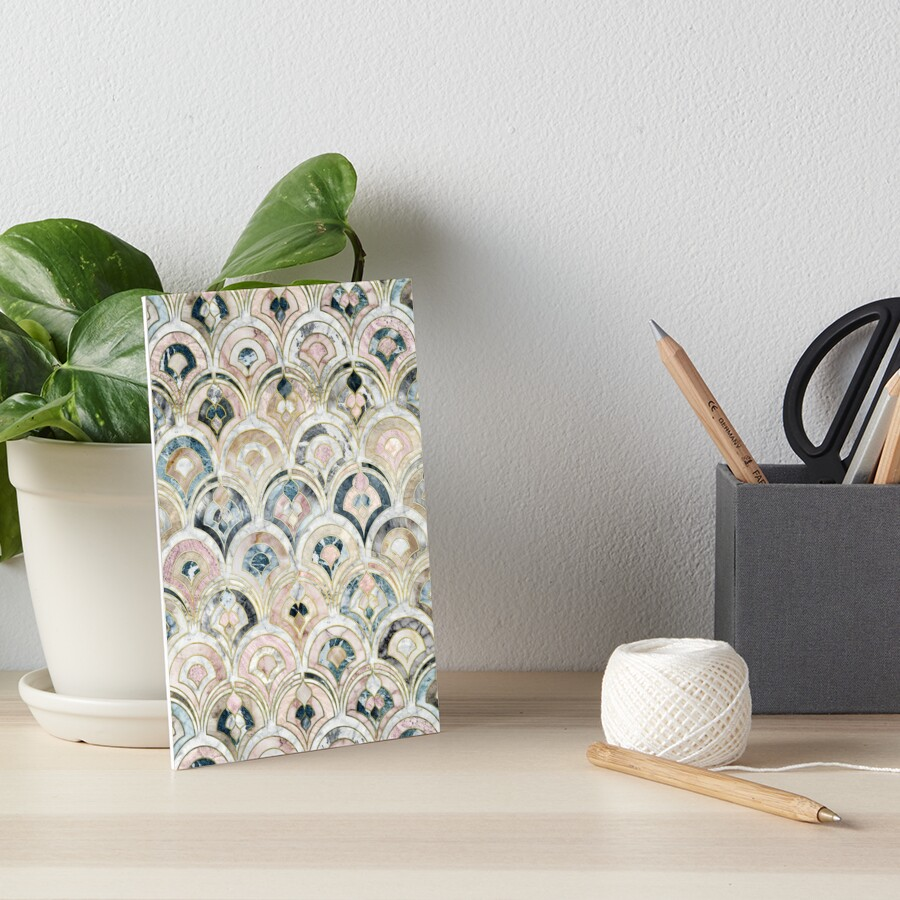 Art Deco Marmorfliesen in weichen Pastellfarben Galeriedruck