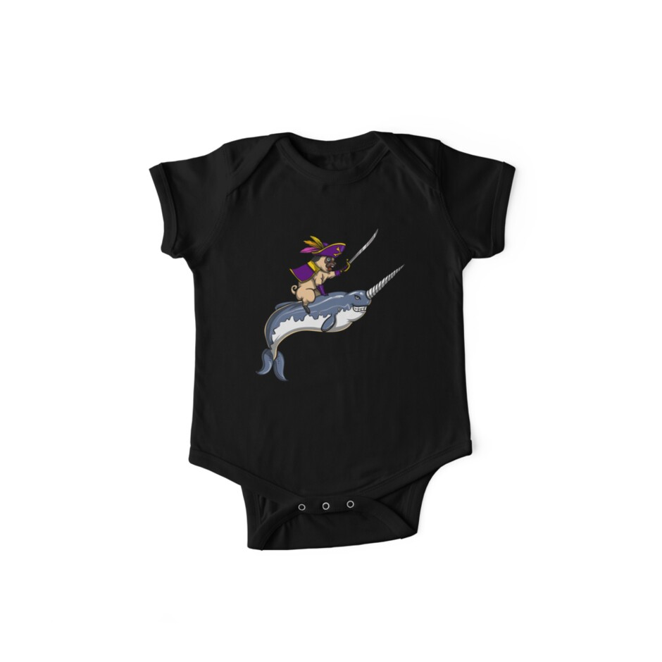 df0252e5 Pug Narwhal For Women And Men Funny Dog Pirate Riding A Narwhal