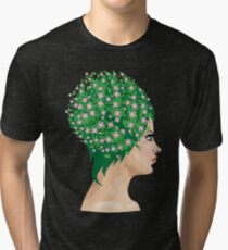 Girl with green hair and flowers Tri-blend T-Shirt