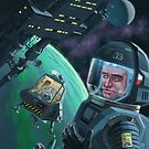 Spaceman with Space Station orbiting Green Planet by martyee