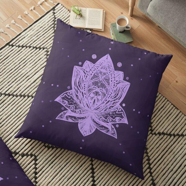 Gentle Pastel Violet Lotus Flower Floor Pillow