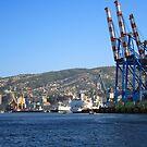 Derricks in Valparaíso. by Francisco Larrea