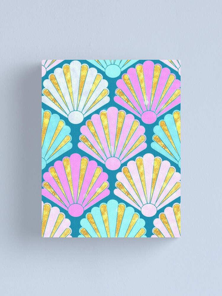 Alternate view of Seashells in lilac, pink and teal // mermaids shells Canvas Print