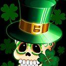 St Patrick Lucky Irish Skull Cartoon  by BluedarkArt