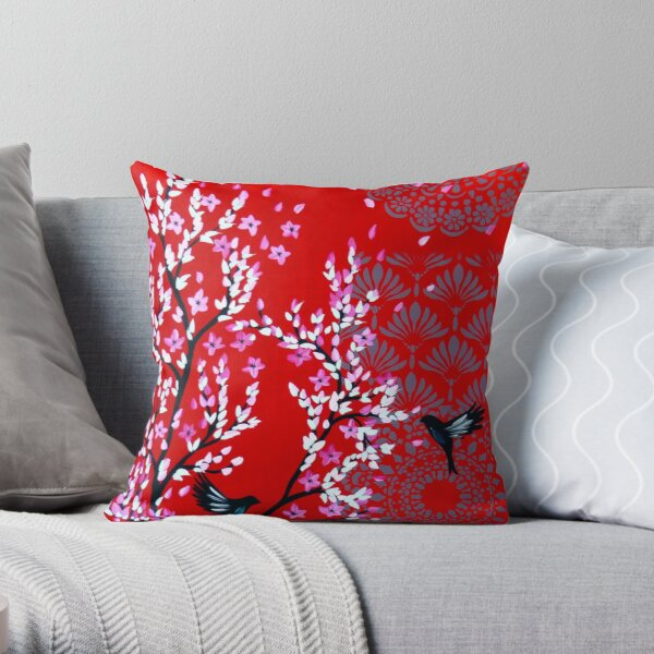 Red cherry blossom Throw Pillow