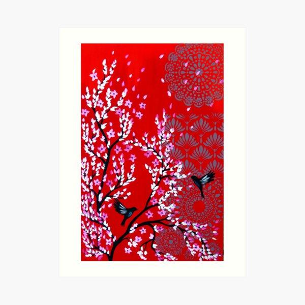 Red cherry blossom Art Print