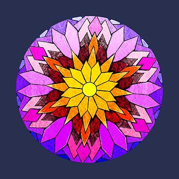 The Inky Stained Glass Glowing Flower by Wroxhawk