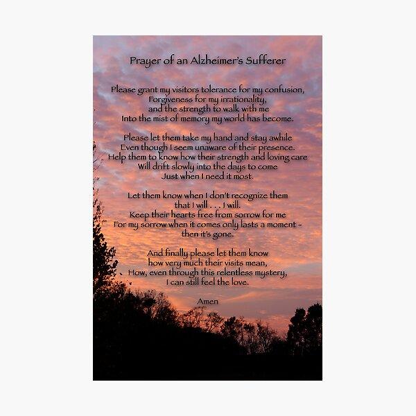 Prayer of an Alzheimer's Sufferer Photographic Print