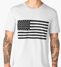 American Flag, STARS & STRIPES, USA, America, Black on white Men's Premium T-Shirt