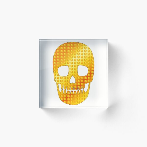 Goldener Schädel - Weiß Acrylblock