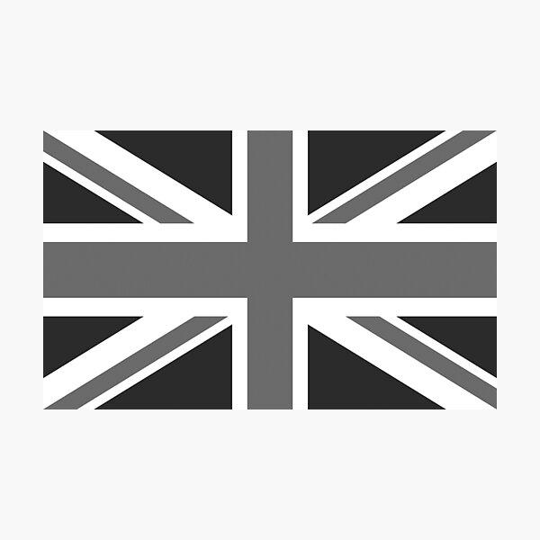 UNION JACK. GREY, BRITISH, FLAG, UK, GB, UNITED KINGDOM, LANDSCAPE. Photographic Print