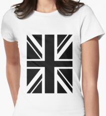 BRITISH, UNION JACK, FLAG, UK, GB, UNITED KINGDOM, PORTRAIT, IN BLACK Women's Fitted T-Shirt