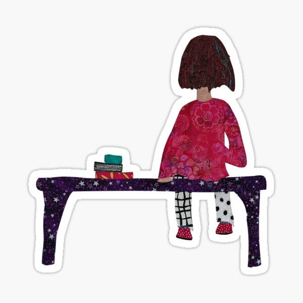 Girl sitting on Bench Sticker