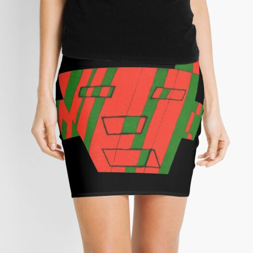 Faced The First (Facemadics colorful contemporary abstract face) Mini Skirt