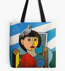 Girl with Bird in the Style of Pablo Picasso Tote Bag