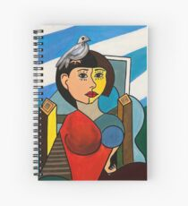 Girl with Bird in the Style of Pablo Picasso Spiral Notebook