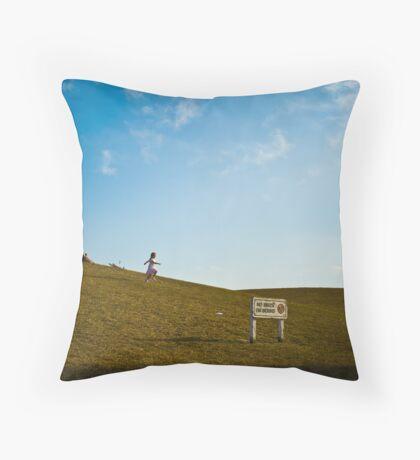 Girl Skipping Downhill Throw Pillow