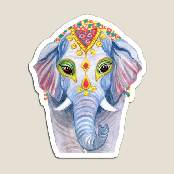 Indian Holi Elephant Watercolor and Acrylic Painting Magnet
