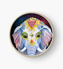 Indian Holi Elephant Watercolor and Acrylic Painting Clock