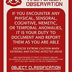 SCP Foundation Red WARNING Signage - Red Background by ToadKingStudios