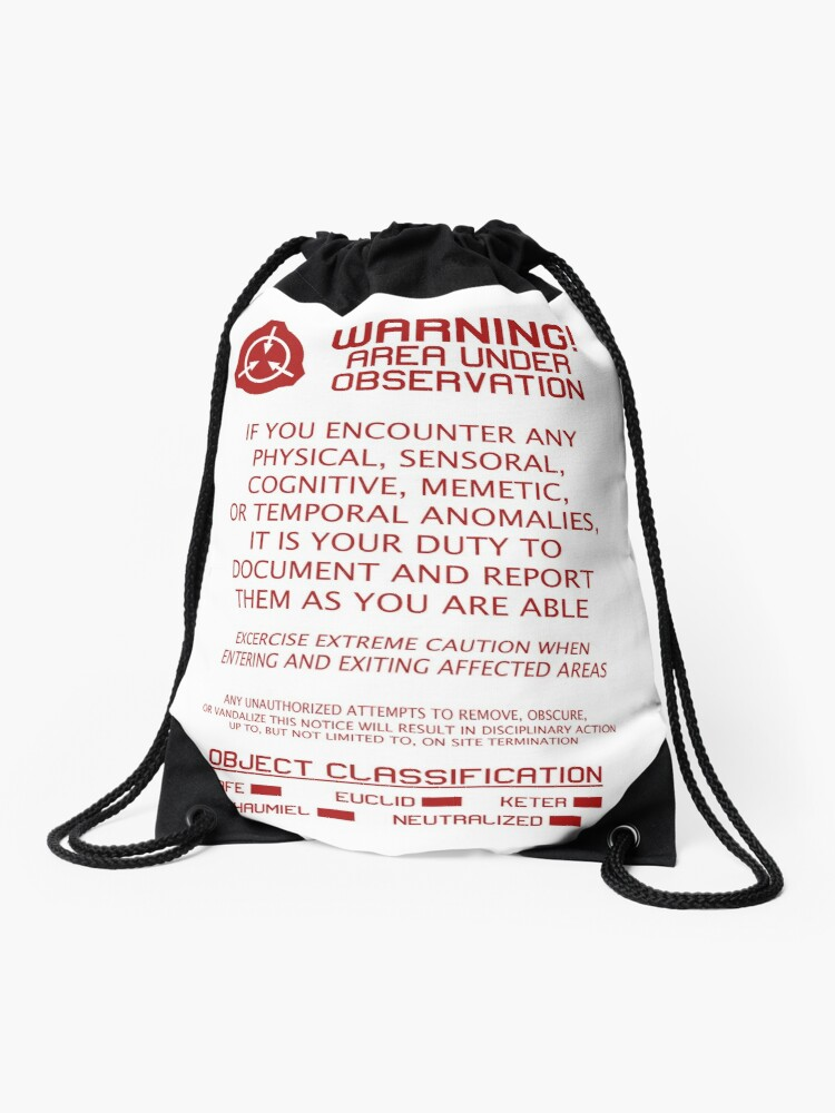 SCP Foundation Red Warning Sign - White Background | Drawstring Bag