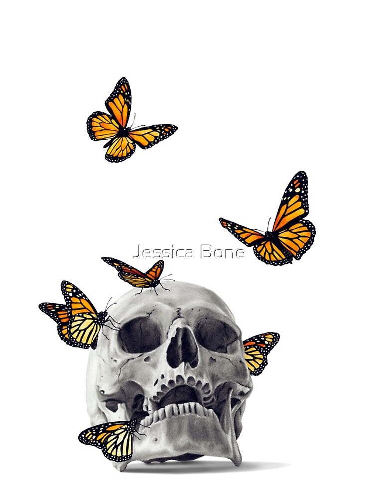 Skull with Monarch Butterflies by bonedesigns
