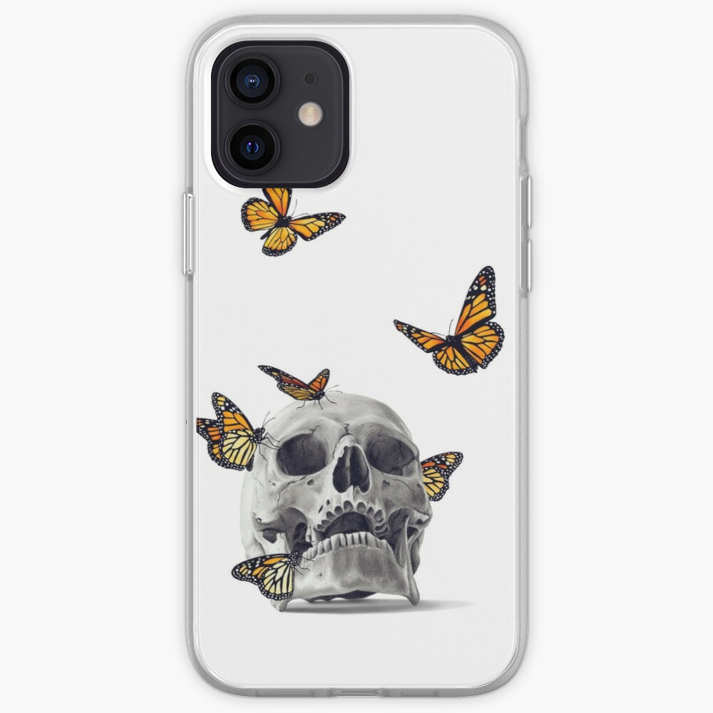 Skull with Monarch Butterflies iPhone Case & Cover