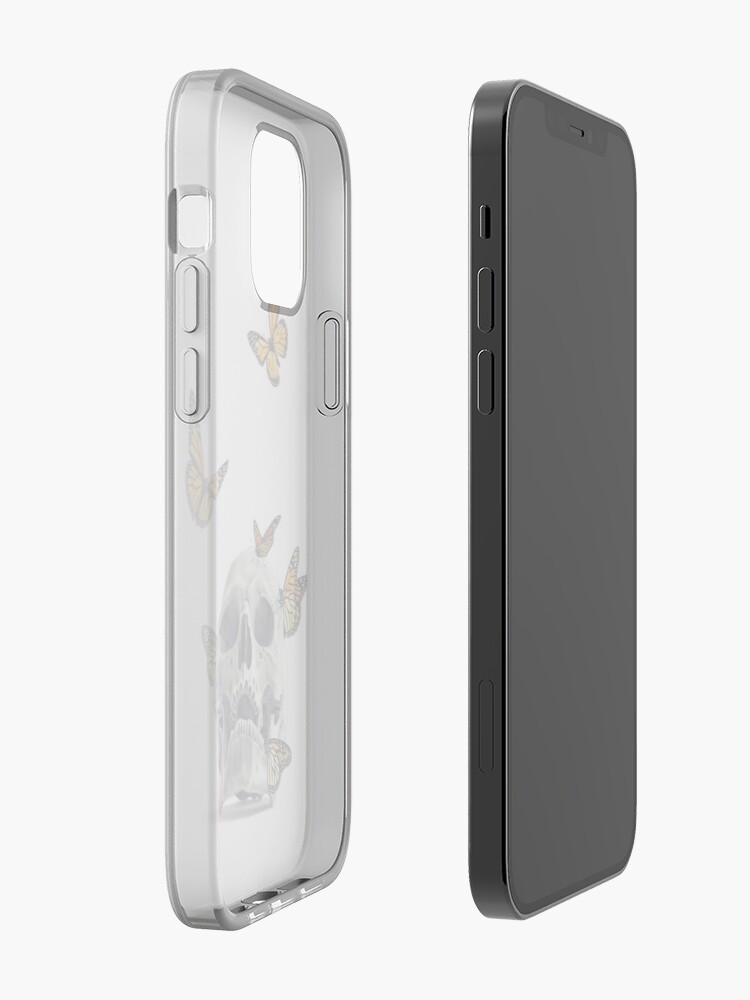 Alternate view of Skull with Monarch Butterflies iPhone Case & Cover