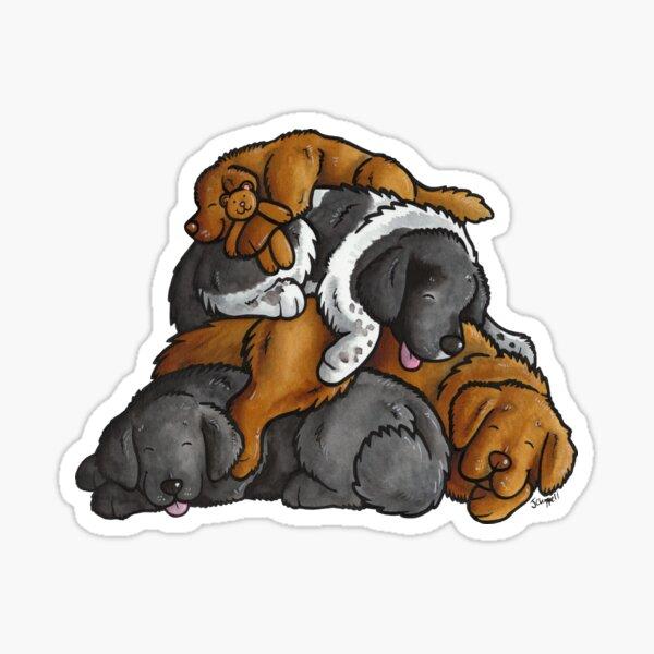 Newfoundland - sleeping pile cartoon Sticker