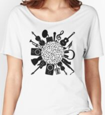 Music Notes  Instrument Collage Women's Relaxed Fit T-Shirt