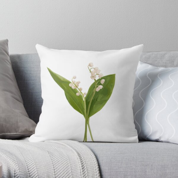Lily of the valley in vector Throw Pillow