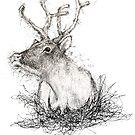Abstract Scribble Art Reindeer  by Leliza