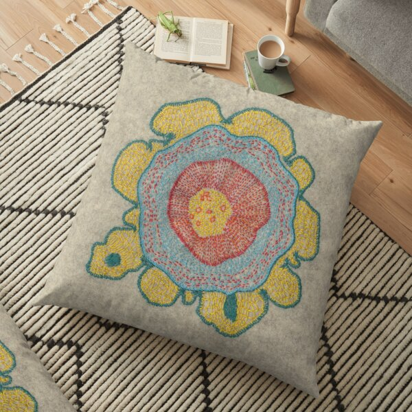 Growing - Pinus 1 - embroidery of plant cells Floor Pillow
