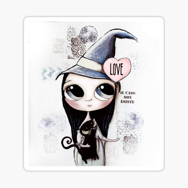 Witch with black hair and black cat and heart of Love Sticker