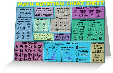 'Mathematics Notation Cheat Sheet' Greeting Card by DominicWalliman