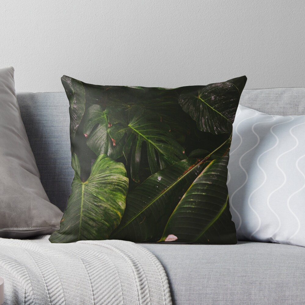 Lost in the foliage jungle print cushion cover Throw Pillow