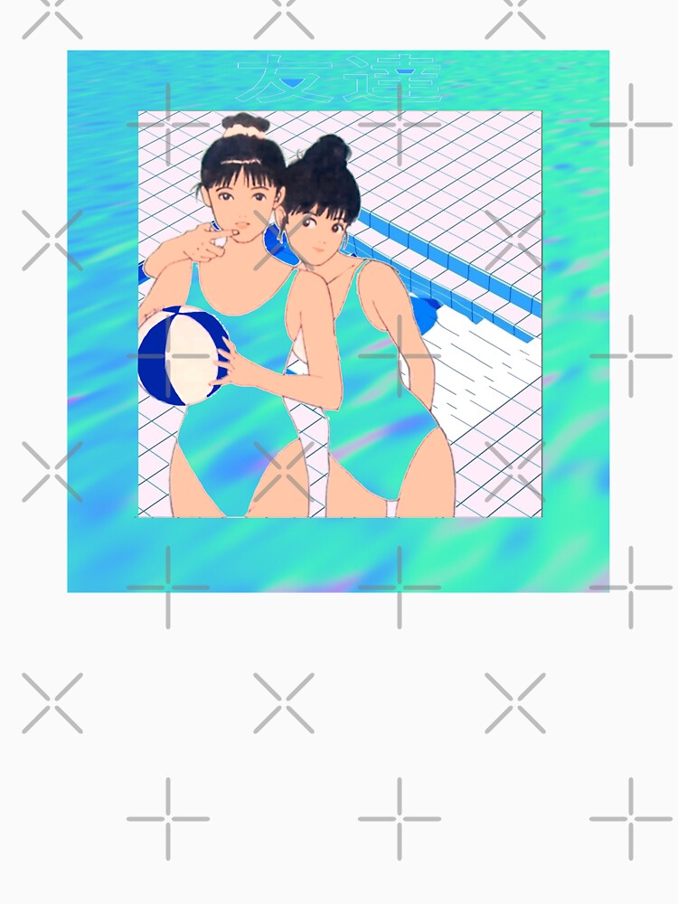 Manga Vs Vaporwave Aesthetic Kawaii Japanese Pool Scene by RMorra